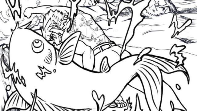 鯉の滝昇り 塗り絵