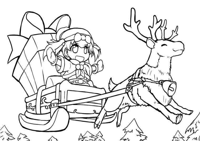 クリスマス 萌愛 塗り絵